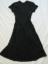 Vtg 40s 50s Black Acetate / Rayon Dress Talon Zippers Hollywood VLV Sleeveless