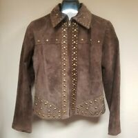 Laura Max Women's Studded Detail  Suede Leather Jacket Zipper Front Brown Small.