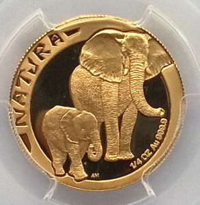 South Africa 1996 Elephant PCGS PR68 Gold Coin,Proof