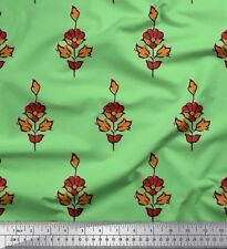 Soimoi Fabric Leaves & Floral Block Print Sewing Fabric BTY - BP-525A