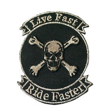 Embroidered Live Fast Ride Faster Skull Sew or Iron on Patch Biker Patch