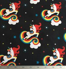 Unicornio Negro Rojo Amarillo Arcoíris Estrella Verde Azulado Algodón Tejido Jersey Medidor Elastina
