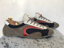 Prada Trainers UK 7.5 Suede Nylon Grey Blue Red with Dust Bag