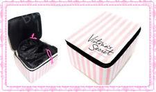 Victoria's Secret VS PINK/WHITE STRIPE TRAIN CASE TRAVEL COSMETIC New