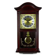 "BEDFORD MMAHOGANY CHERRY WOOD 22"" WALL CLOCK with PENDULUM and HOUR CHIMES NEW"