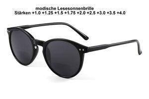 modische bifokale Lesesonnenbrille Gläser grau Gestell schwarz+1.0 bis +4.0