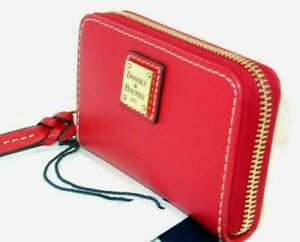 NWT Dooney & Bourke Red Leather Zip Around Credit Card Case Wallet New $88