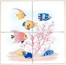 """Blue Fish Ceramic Tile Mural 4 pcs 4.25"""" Kiln Fired Back Splash Nautical Decor"""