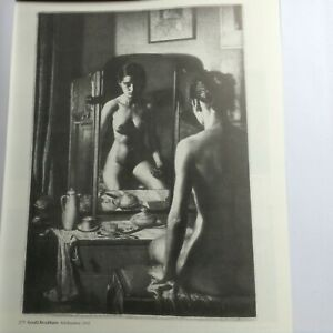 Large book print of an etching, Adolescence, by Gerald Brockhurst: female nude