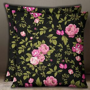 Black With Pink 2 Pcs Decorative Cotton Poplin Rose Floral Print Cushion Cover