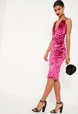Pink Missguided Midi Dress Velour
