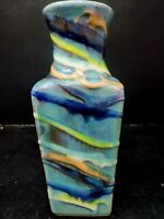 Barbados Clay Pottery Glazed Vase Sea Green Aqua Blues and Yellows