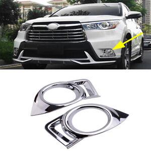 Chrome Car Front Fog Light Lamp Cover Trim For Toyota Highlander 2014 2015 2016