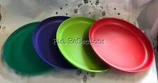 TUPPERWARE ROUND PLATE SET OF FOUR RED LIME TEAL GREEN LUPIN BLUE PICNIC