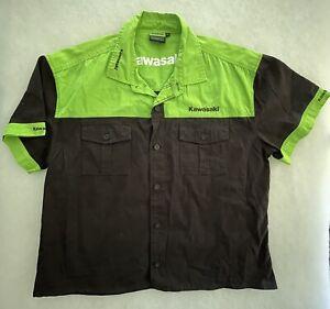Kawasaki Men's Team Shirt Genuine Clothing Button Front Short Sleeve Shirt 2XL