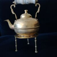 Vintage Brass Teapot / Kettle With Enamel Handle And Trivet