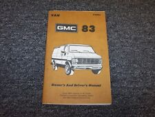 1983 GMC G10 G20 G30 Van Original Owner Owner's Operator User Guide Manual V8