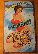 New listing Welcome To The Beach Rustic Retro Style Pin Up Girl Beach Home Decor Sign New