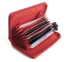 LADY'S GENUINE LEATHER ACCORDION STYLE ZIP WALLET CREDIT CARD ORGANIZER