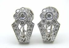14 KT WHITE GOLD VINTAGE STYLE EARRING W/1.00 CT DIAMONDS