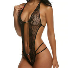 Sexy Dessous Body ouvert elastisch schwarze Spitze, unten offen