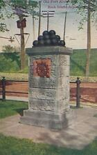 Antique Postcard c1912 Monument Old Fort Armstrong Rock Island, Il 18696
