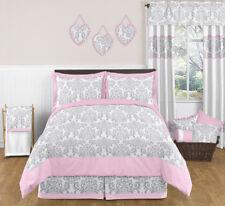 Sweet Jojo Designs Pink Gray Damask Girls Kids Teens Full Queen Grey Bedding Set