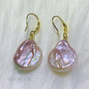 Color Baroque Pearl Earring 18 K Gold  Ear Drop Women Hook Wedding Cultured