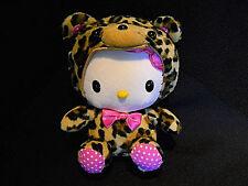 """SANRIO Hello Kitty Brown Safari Leopard Costume Soft Toy Plush 8"""" EUC"""