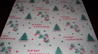 VINTAGE 1940 CHRISTMAS WRAPPING PAPER GIFT WRAP - 2 YARDS - AWESOME OLD SCENE