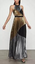 BCBG MAXAZRIA Metallic Colorblocked Pleated Gown Evening Dress Size L NWT $498