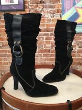 Hot In Hollywood Black Suede Metallic Strap Slouch Heel Boots 8.5 W NEW