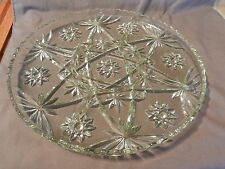 Vintage Glass Round Vegetable Divided Tray, Flower & Lines Design Scallop Edge