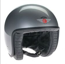 DAVIDA JET HELMET 80102XL SILVER WITH BLACK LEATHER. XLARGE- HAND MADE