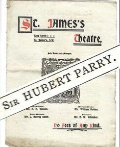 1899 Sir Hubert Parry St James's theatre programme Repentance & Ambassador