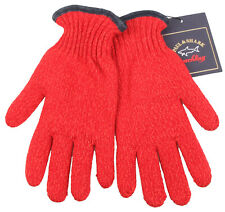 Paul & Shark Yachting winter gloves size 8.5 M pure new wool lining fleece red
