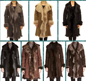 Women Genuine Shearling Sheepskin Toscana Long Waterfall Design Warm Winter Coat