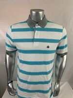 Brooks Brothers Short Sleeve Polo Shirt Men's Size M Blue White Blue Striped