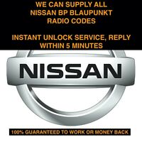 *INSTANT* ALL NISSAN BLAUPUNKT BP SERIES RADIO CODE UNLOCK SERVICE MICRA NOTE