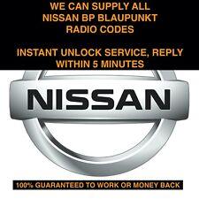 *INSTANT* ALL NISSAN BLAUPUNKT BP SERIES RADIO CODE UNLOCK SERVICE MICRA NOTE