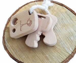 best DEVELOPMENTAL Natural Wooden Teether KeyChain Toy Rattle untreated wood