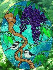 Pair of Birds in Tree Faux Stained Glass Window Cling