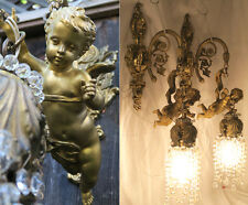 2 Sconces Antique French Dore Bronze Cherub lamp beaded crystal Brass Vintage