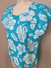$120 NWT Michael Kors Plus 0X Blue/White Sequin Floral Crew Neck Cap Sleeve Top