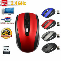2.4GHz Wireless Mouse 1600DPI Cordless Optical Mice USB Receiver for PC Laptop .