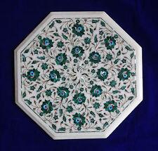 "18"" Marble inlay Malachite coffee Side Table Lazysusan vintage Living Room Decor"