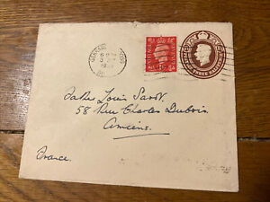 GB 1939 1 1/2d Post Paid Envelope - Gerrards Cross To Amiens, Somme, France.