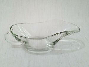 Vintage Clear Glass Anchor Hocking 10 Oz Glass Gravy Boat Made In The USA #1028