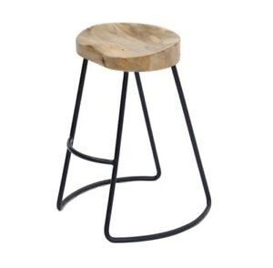 """The Urban Port 30"""" Contemporary Wood Saddle Seat Large Barstool in Brown/Black"""