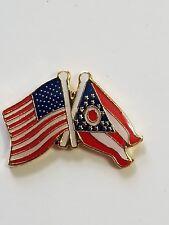 USA Flag American Flag Ohio Flag Crossed Flags Lapel Hat Pin Tie Tac FAST SHIP